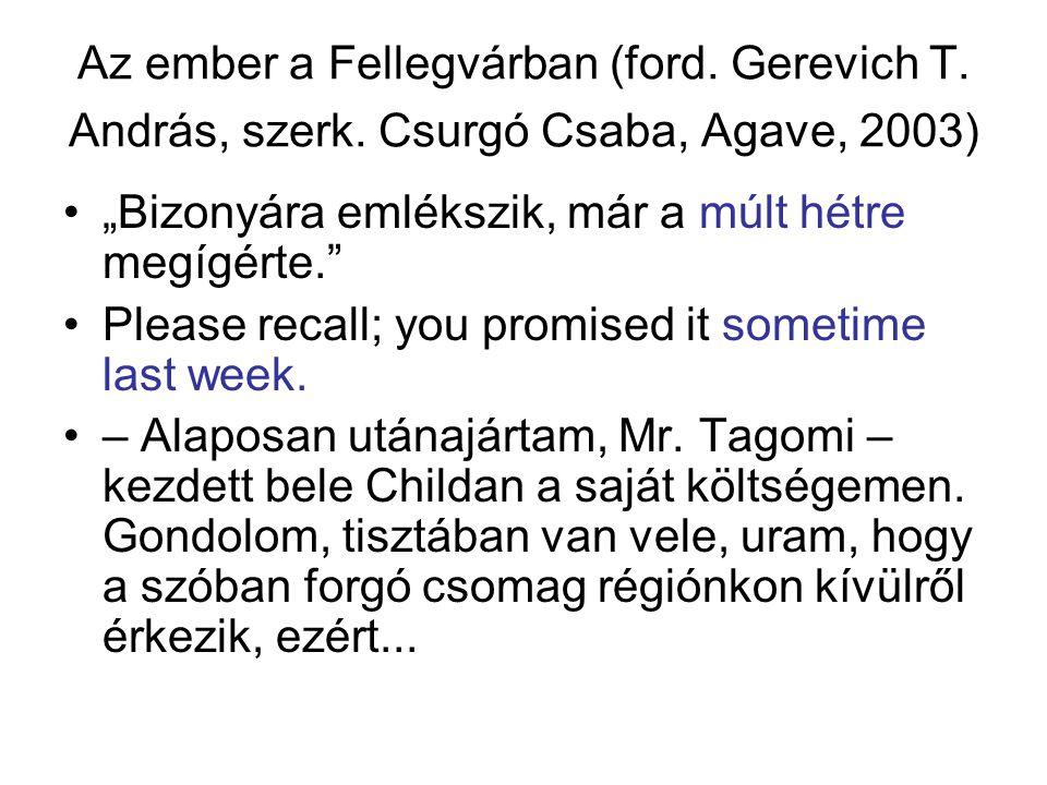 """Az ember a Fellegvárban (ford. Gerevich T. András, szerk. Csurgó Csaba, Agave, 2003) """"Bizonyára emlékszik, már a múlt hétre megígérte."""" Please recall;"""