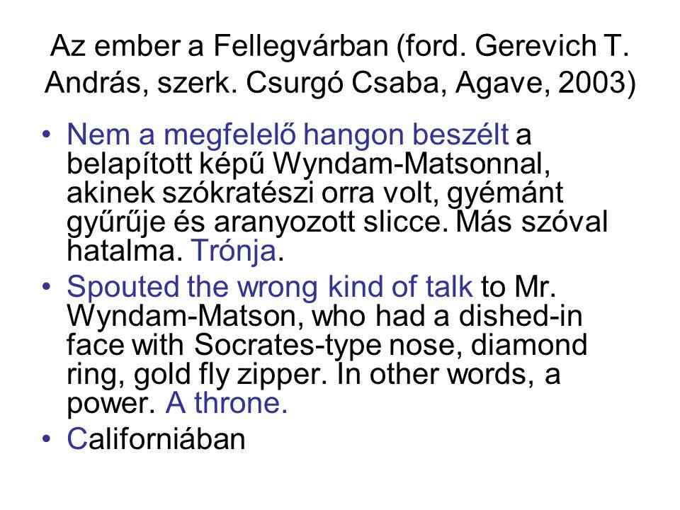 Az ember a Fellegvárban (ford. Gerevich T. András, szerk. Csurgó Csaba, Agave, 2003) Nem a megfelelő hangon beszélt a belapított képű Wyndam-Matsonnal