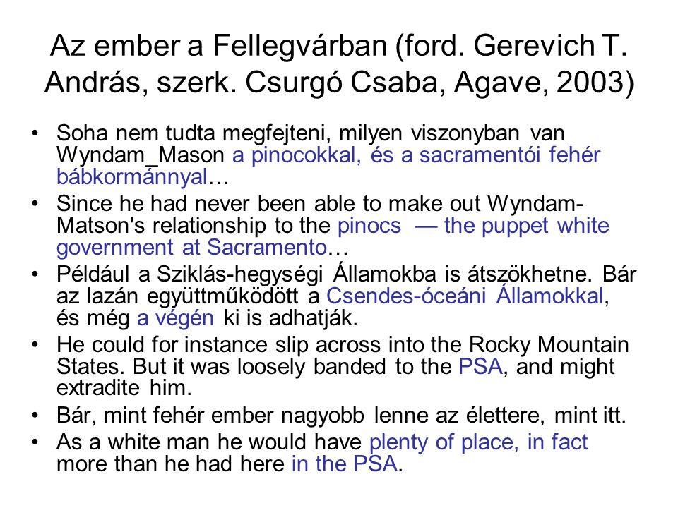 Az ember a Fellegvárban (ford. Gerevich T. András, szerk. Csurgó Csaba, Agave, 2003) Soha nem tudta megfejteni, milyen viszonyban van Wyndam_Mason a p