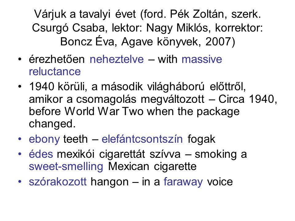 Várjuk a tavalyi évet (ford. Pék Zoltán, szerk. Csurgó Csaba, lektor: Nagy Miklós, korrektor: Boncz Éva, Agave könyvek, 2007) érezhetően neheztelve –