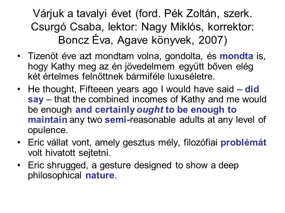 Várjuk a tavalyi évet (ford. Pék Zoltán, szerk. Csurgó Csaba, lektor: Nagy Miklós, korrektor: Boncz Éva, Agave könyvek, 2007) Tizenöt éve azt mondtam