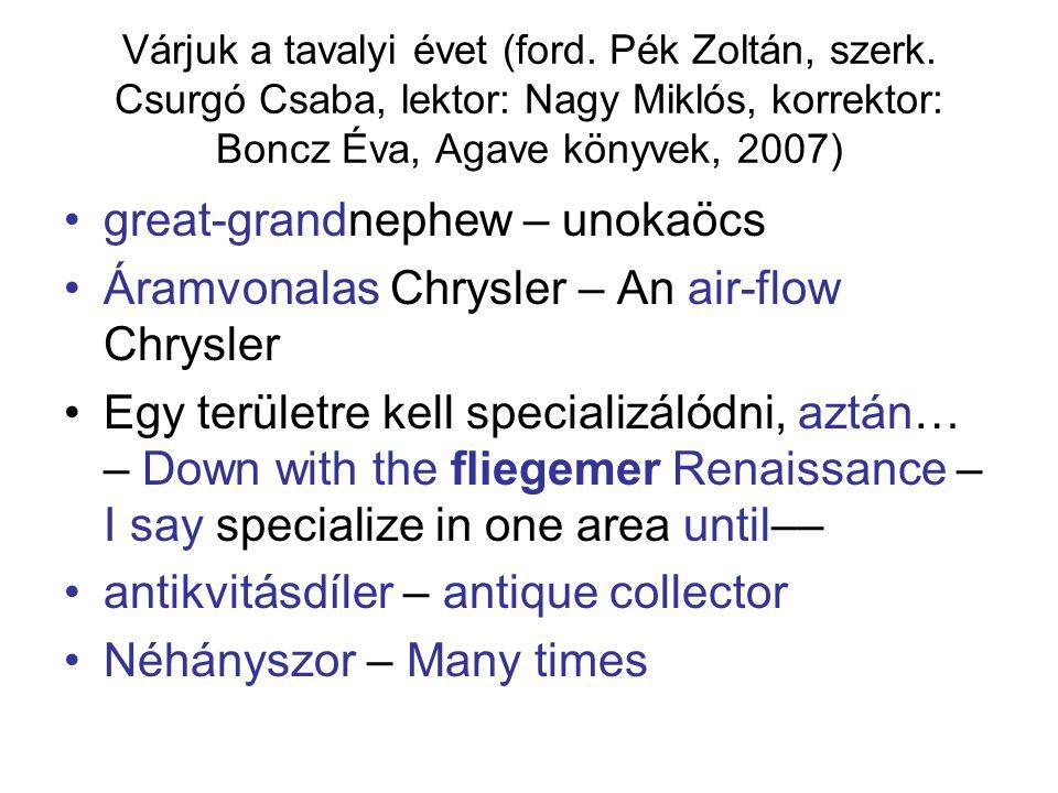 Várjuk a tavalyi évet (ford. Pék Zoltán, szerk. Csurgó Csaba, lektor: Nagy Miklós, korrektor: Boncz Éva, Agave könyvek, 2007) great-grandnephew – unok