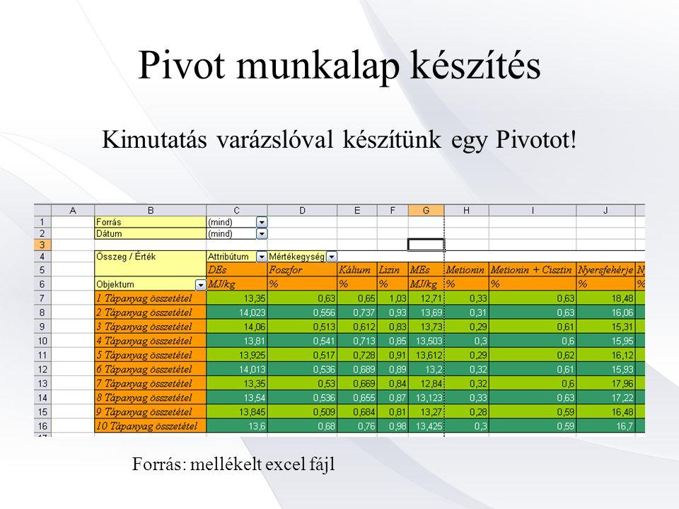 Pivot munkalap készítés Kimutatás varázslóval készítünk egy Pivotot! Forrás: mellékelt excel fájl