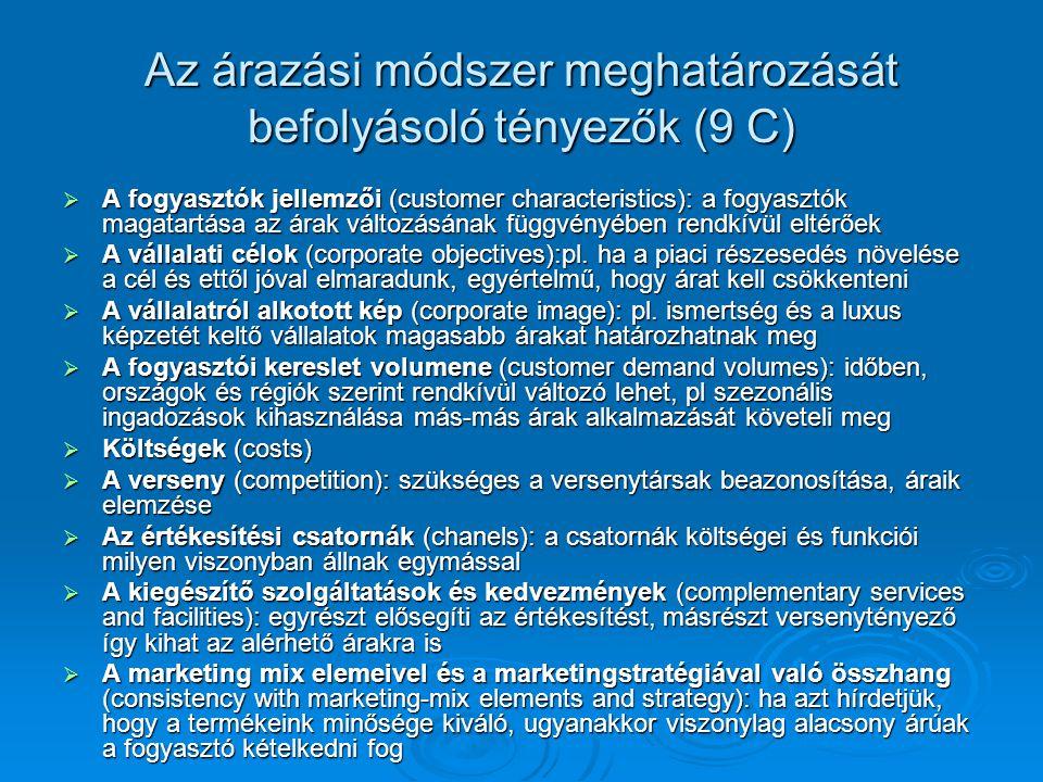 Az árazási módszer meghatározását befolyásoló tényezők (9 C)  A fogyasztók jellemzői (customer characteristics): a fogyasztók magatartása az árak változásának függvényében rendkívül eltérőek  A vállalati célok (corporate objectives):pl.