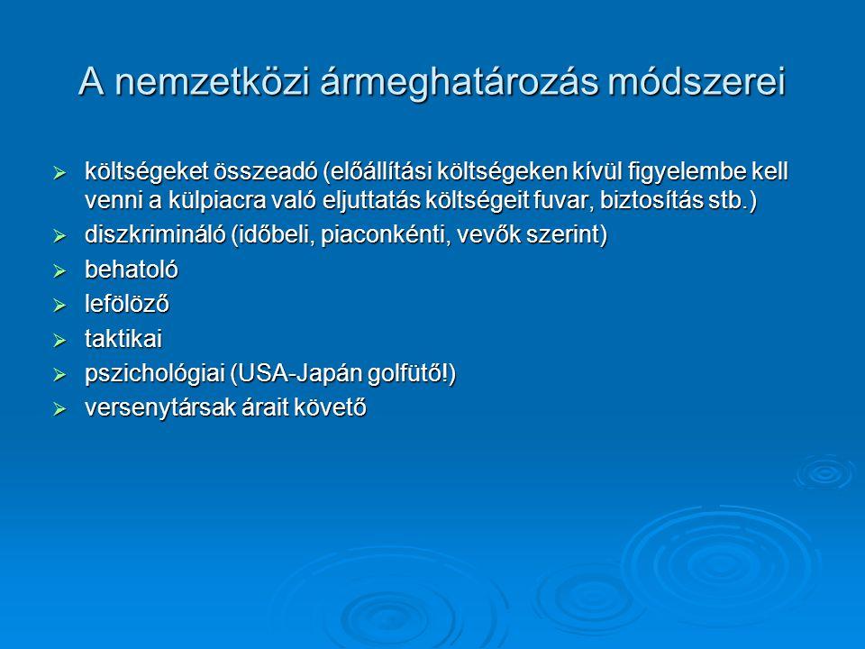 A nemzetközi ármeghatározás módszerei  költségeket összeadó (előállítási költségeken kívül figyelembe kell venni a külpiacra való eljuttatás költsége