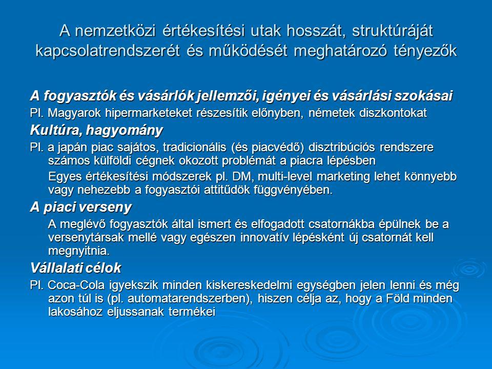 A nemzetközi értékesítési utak hosszát, struktúráját kapcsolatrendszerét és működését meghatározó tényezők A fogyasztók és vásárlók jellemzői, igényei és vásárlási szokásai Pl.