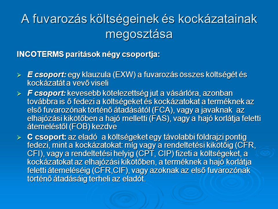 A fuvarozás költségeinek és kockázatainak megosztása INCOTERMS paritások négy csoportja:  E csoport: egy klauzula (EXW) a fuvarozás összes költségét