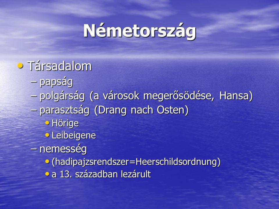 Németország Társadalom Társadalom –papság –polgárság (a városok megerősödése, Hansa) –parasztság (Drang nach Osten) Hörige Hörige Leibeigene Leibeigen
