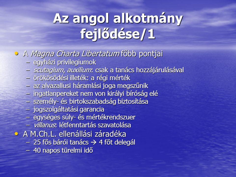 Az angol alkotmány fejlődése/1 A Magna Charta Libertatum főbb pontjai A Magna Charta Libertatum főbb pontjai –egyházi privilegiumok –scutagium, auxili