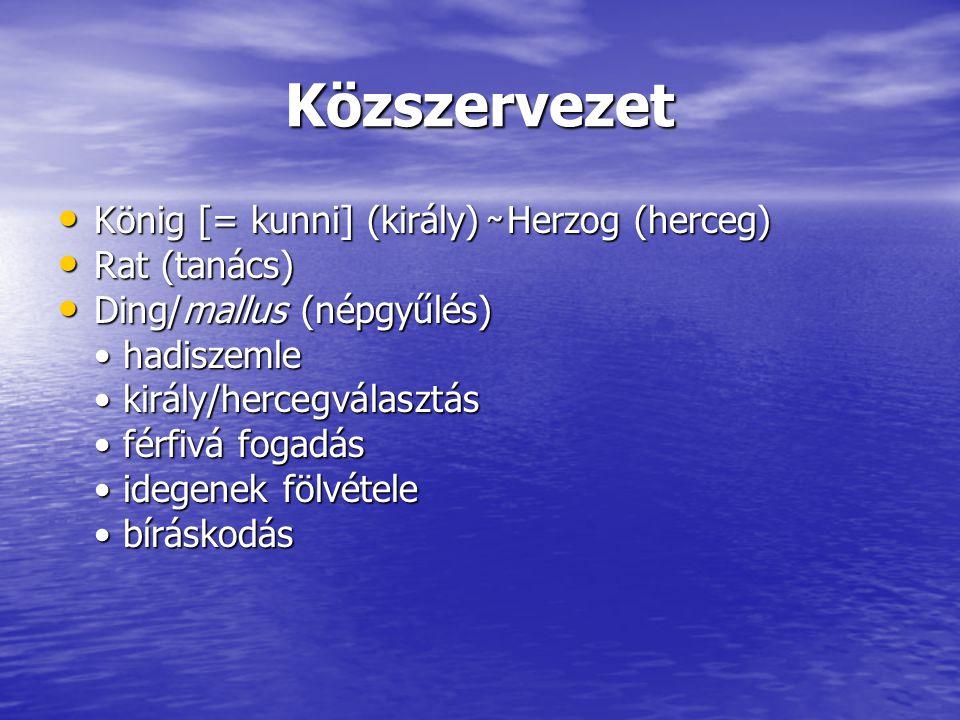 Közszervezet König [= kunni] (király) ̴ Herzog (herceg) König [= kunni] (király) ̴ Herzog (herceg) Rat (tanács) Rat (tanács) Ding/mallus (népgyűlés) D