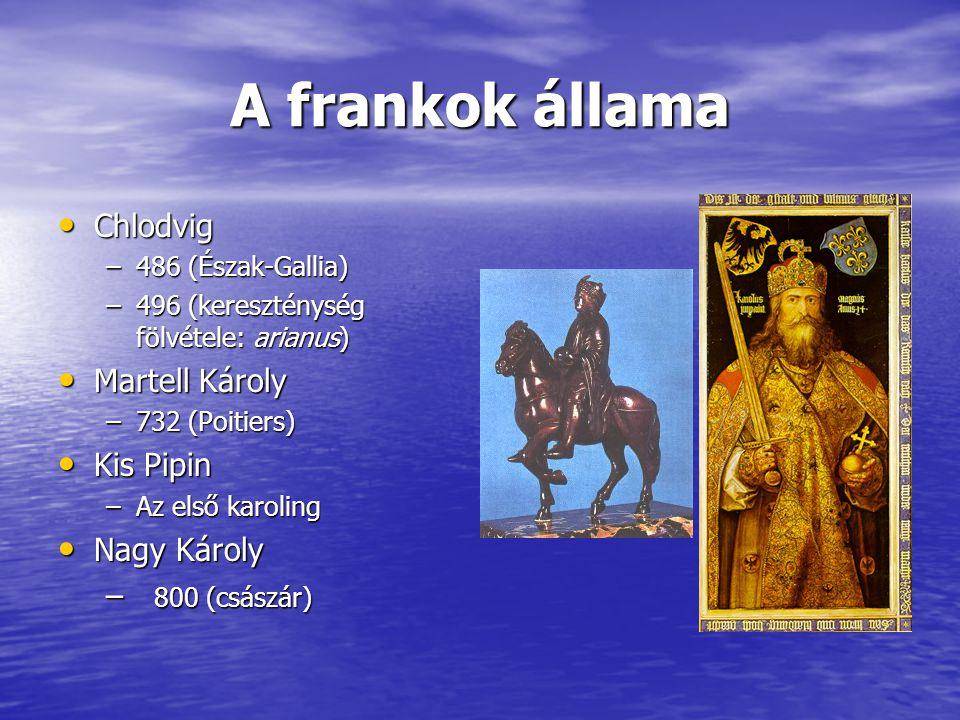 A frankok állama Chlodvig Chlodvig –486 (Észak-Gallia) –496 (kereszténység fölvétele: arianus) Martell Károly Martell Károly –732 (Poitiers) Kis Pipin