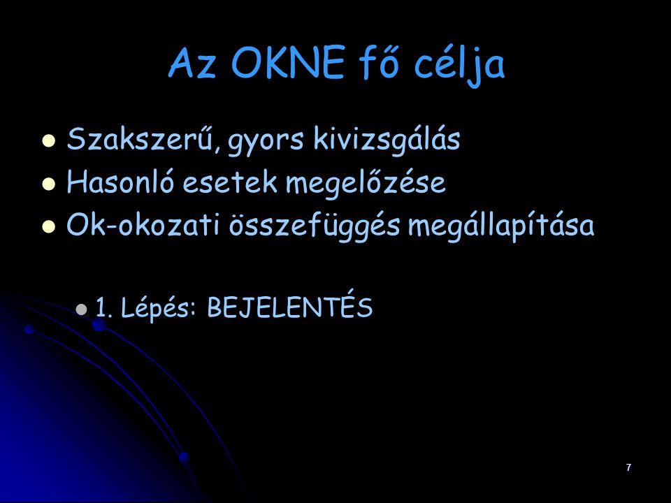 7 Az OKNE fő célja Szakszerű, gyors kivizsgálás Hasonló esetek megelőzése Ok-okozati összefüggés megállapítása 1. Lépés: BEJELENTÉS