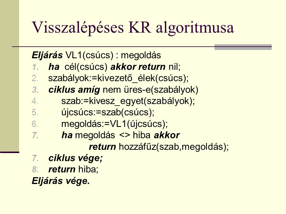 Visszalépéses KR algoritmusa Eljárás VL1(csúcs) : megoldás 1.