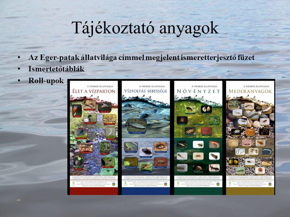Tájékoztató anyagok Az Eger-patak állatvilága címmel megjelent ismeretterjesztő füzet Ismertetőtáblák Roll-upok