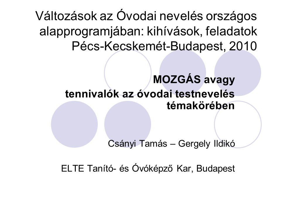 Változások az Óvodai nevelés országos alapprogramjában: kihívások, feladatok Pécs-Kecskemét-Budapest, 2010 MOZGÁS avagy tennivalók az óvodai testnevel