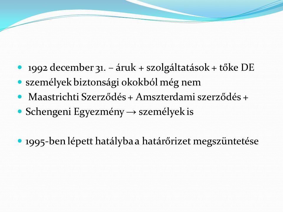 1992 december 31. – áruk + szolgáltatások + tőke DE személyek biztonsági okokból még nem Maastrichti Szerződés + Amszterdami szerződés + Schengeni Egy