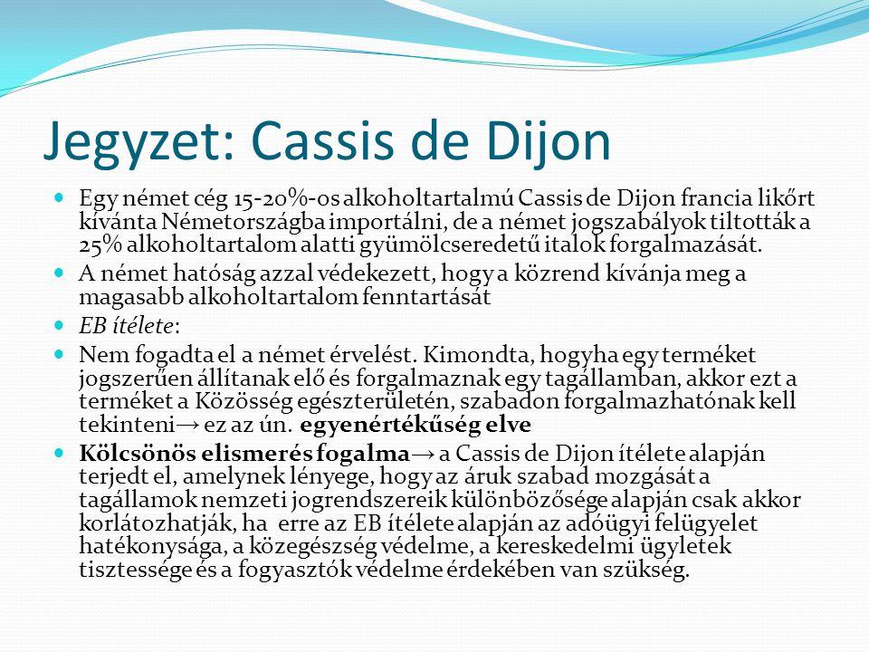 Jegyzet: Cassis de Dijon Egy német cég 15-20%-os alkoholtartalmú Cassis de Dijon francia likőrt kívánta Németországba importálni, de a német jogszabál