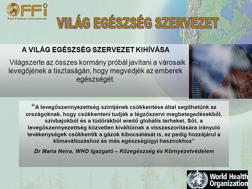 A VILÁG EGÉSZSÉG SZERVEZET KIHÍVÁSA Világszerte az összes kormány próbál javítani a városaik levegőjének a tisztaságán, hogy megvédjék az emberek egészségét.
