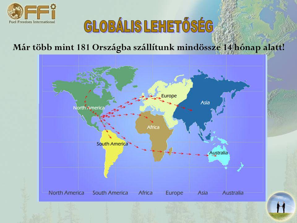 Már több mint 181 Országba szállítunk mindössze 14 hónap alatt!