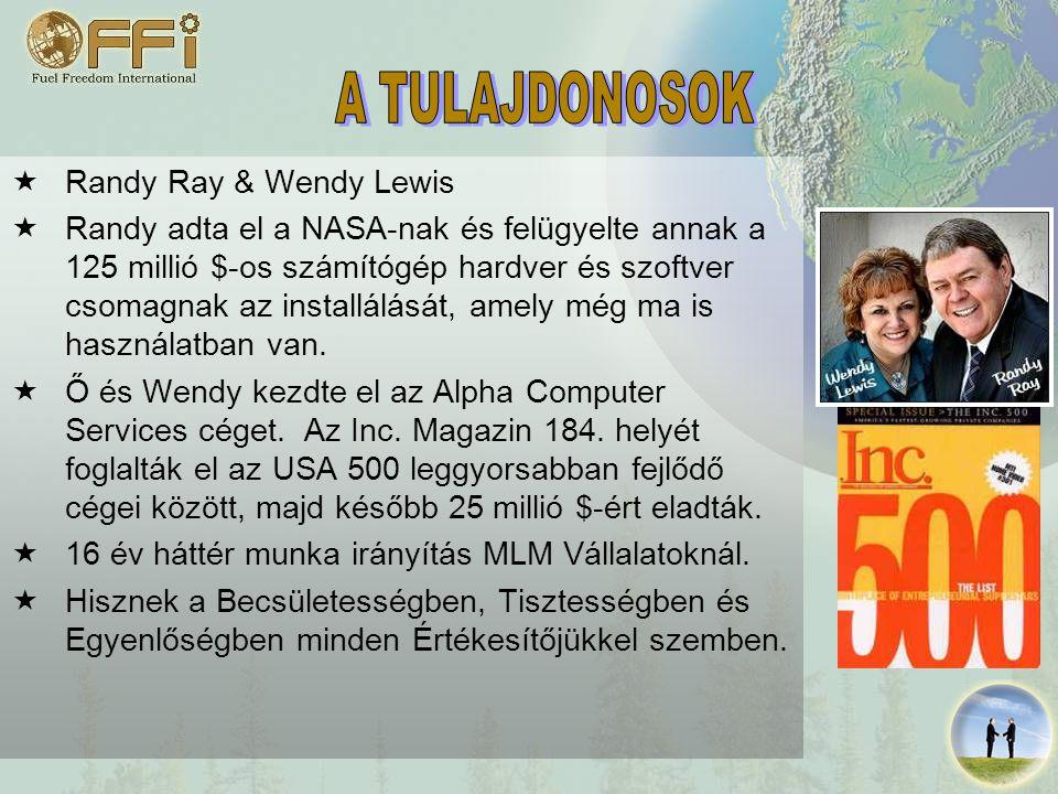  Randy Ray & Wendy Lewis  Randy adta el a NASA-nak és felügyelte annak a 125 millió $-os számítógép hardver és szoftver csomagnak az installálását, amely még ma is használatban van.