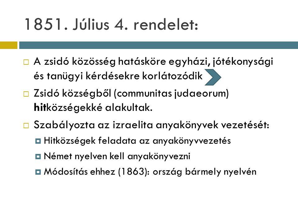 1851. Július 4. rendelet:  A zsidó közösség hatásköre egyházi, jótékonysági és tanügyi kérdésekre korlátozódik  Zsidó községből (communitas judaeoru