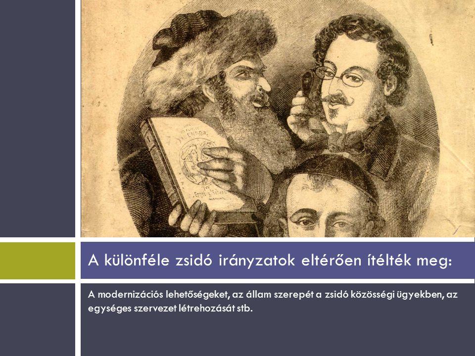 A modernizációs lehetőségeket, az állam szerepét a zsidó közösségi ügyekben, az egységes szervezet létrehozását stb. A különféle zsidó irányzatok elté