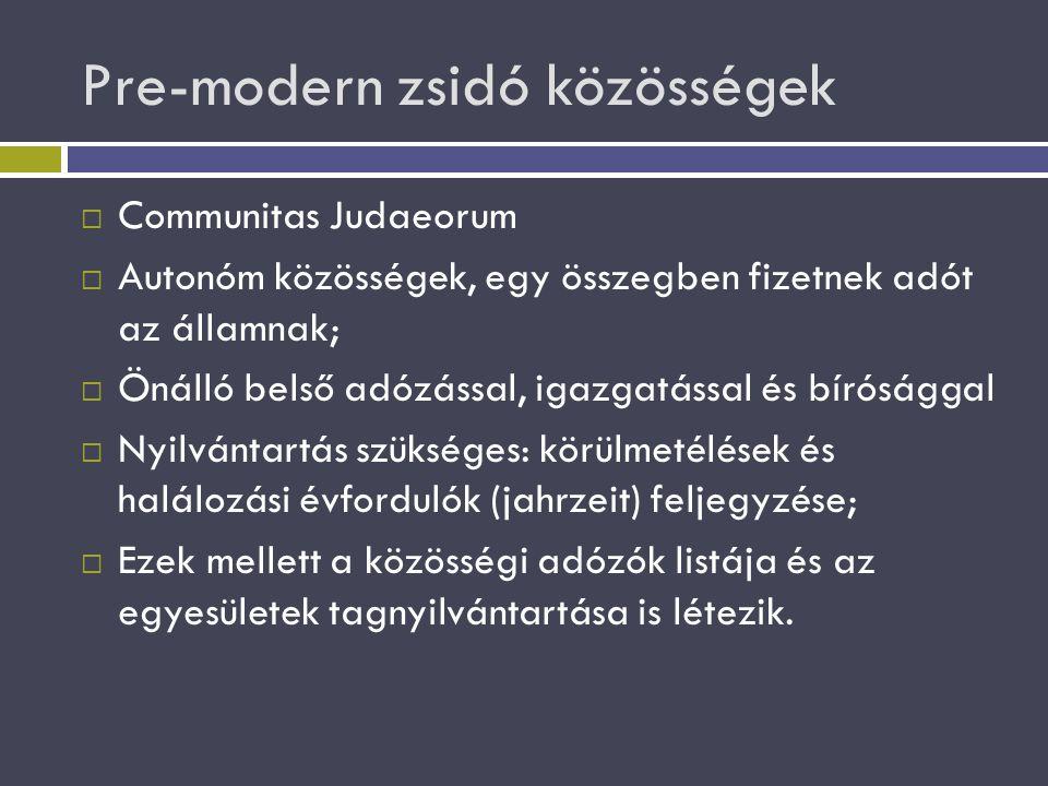 Pre-modern zsidó közösségek  Communitas Judaeorum  Autonóm közösségek, egy összegben fizetnek adót az államnak;  Önálló belső adózással, igazgatáss