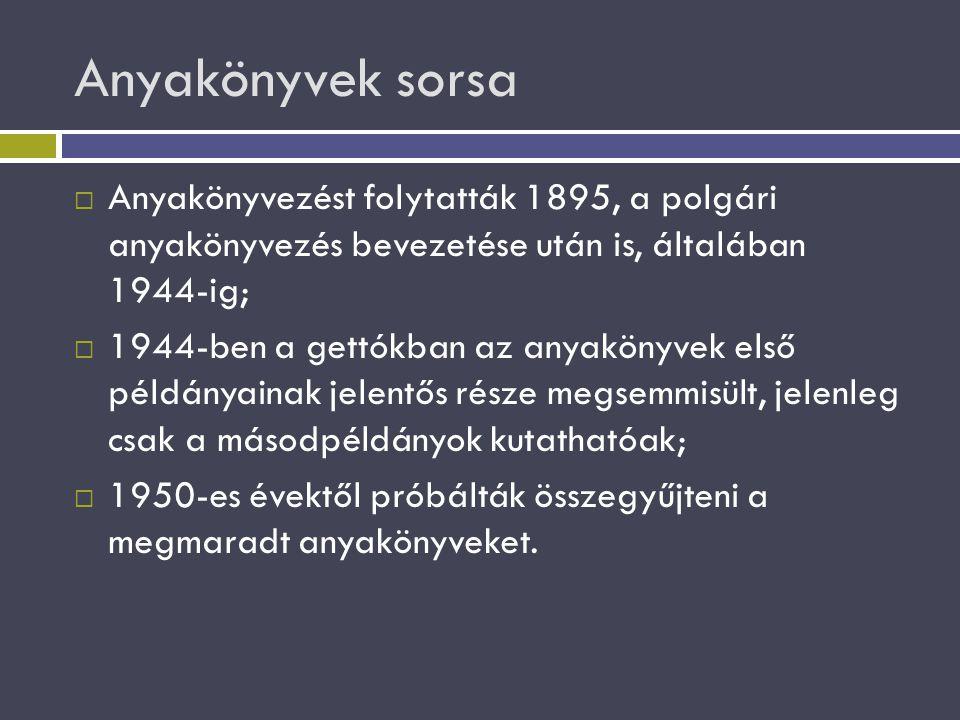 Anyakönyvek sorsa  Anyakönyvezést folytatták 1895, a polgári anyakönyvezés bevezetése után is, általában 1944-ig;  1944-ben a gettókban az anyakönyv