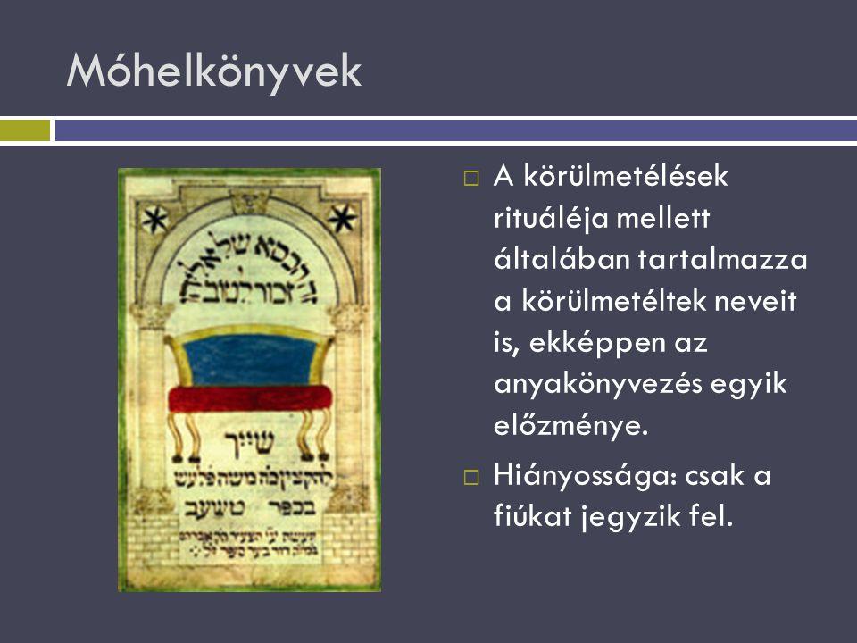 Móhelkönyvek  A körülmetélések rituáléja mellett általában tartalmazza a körülmetéltek neveit is, ekképpen az anyakönyvezés egyik előzménye.  Hiányo