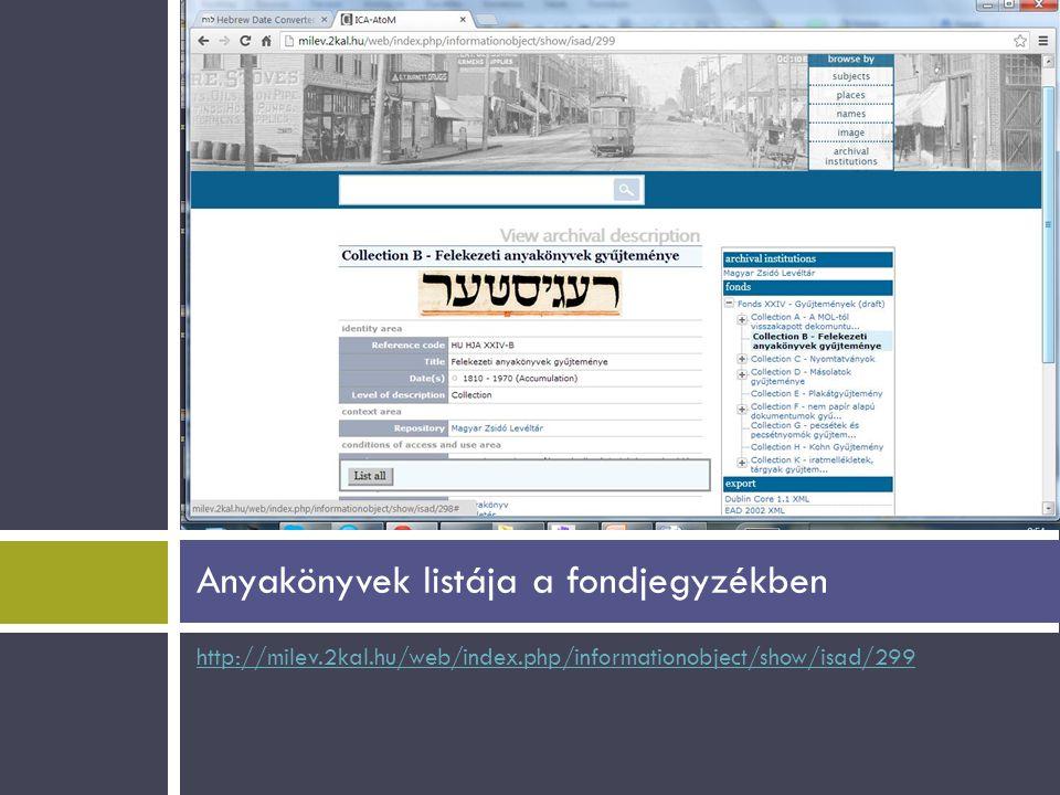 http://milev.2kal.hu/web/index.php/informationobject/show/isad/299 Anyakönyvek listája a fondjegyzékben