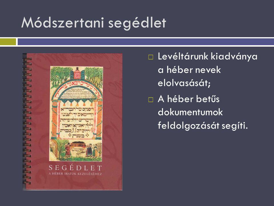 Módszertani segédlet  Levéltárunk kiadványa a héber nevek elolvasását;  A héber betűs dokumentumok feldolgozását segíti.