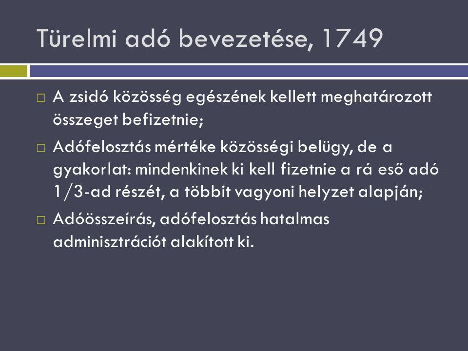 Türelmi adó bevezetése, 1749  A zsidó közösség egészének kellett meghatározott összeget befizetnie;  Adófelosztás mértéke közösségi belügy, de a gya