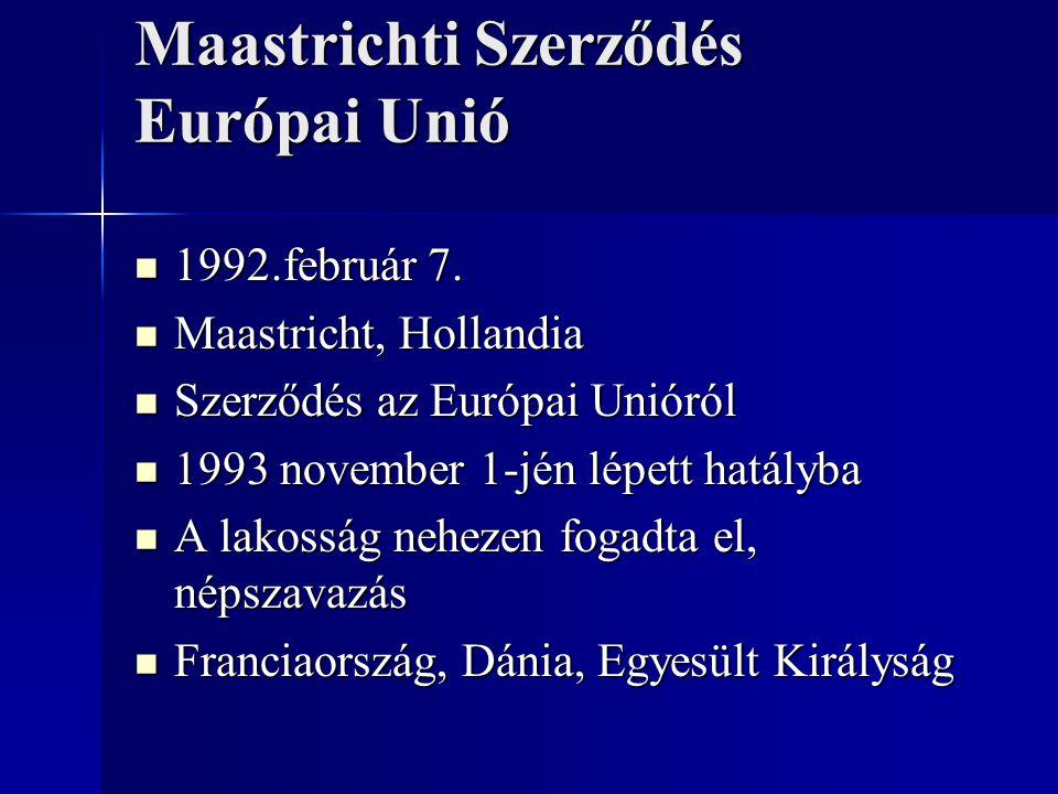 Maastrichti Szerződés Európai Unió 1992.február 7. 1992.február 7. Maastricht, Hollandia Maastricht, Hollandia Szerződés az Európai Unióról Szerződés