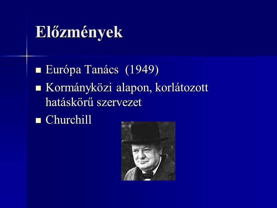 Előzmények Európa Tanács (1949) Európa Tanács (1949) Kormányközi alapon, korlátozott hatáskörű szervezet Kormányközi alapon, korlátozott hatáskörű sze
