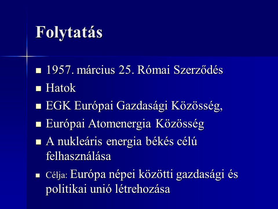Folytatás 1957. március 25. Római Szerződés 1957. március 25. Római Szerződés Hatok Hatok EGK Európai Gazdasági Közösség, EGK Európai Gazdasági Közöss