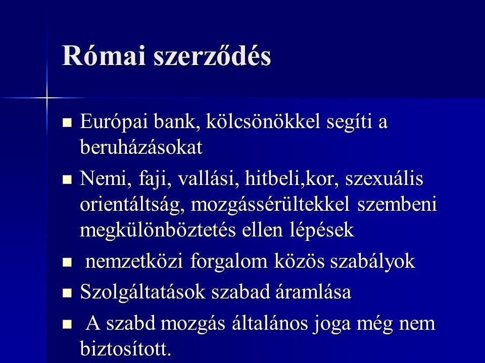 Római szerződés Európai bank, kölcsönökkel segíti a beruházásokat Európai bank, kölcsönökkel segíti a beruházásokat Nemi, faji, vallási, hitbeli,kor,
