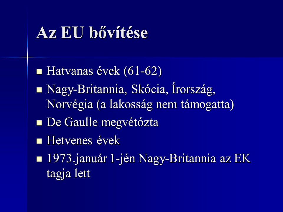 Az EU bővítése Hatvanas évek (61-62) Hatvanas évek (61-62) Nagy-Britannia, Skócia, Írország, Norvégia (a lakosság nem támogatta) Nagy-Britannia, Skóci