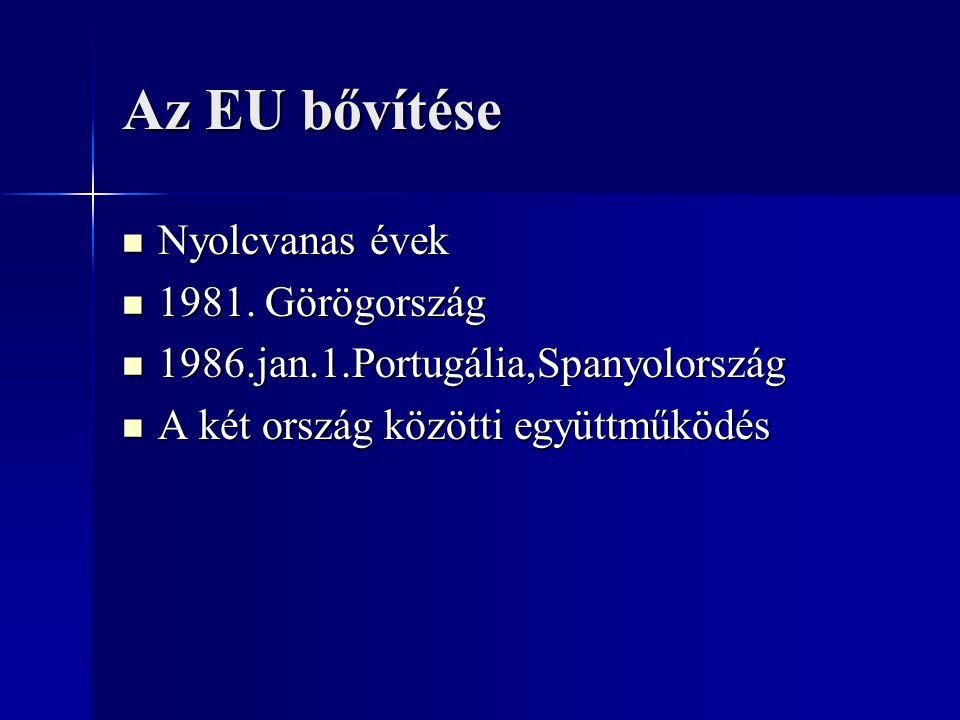 Az EU bővítése Nyolcvanas évek Nyolcvanas évek 1981. Görögország 1981. Görögország 1986.jan.1.Portugália,Spanyolország 1986.jan.1.Portugália,Spanyolor
