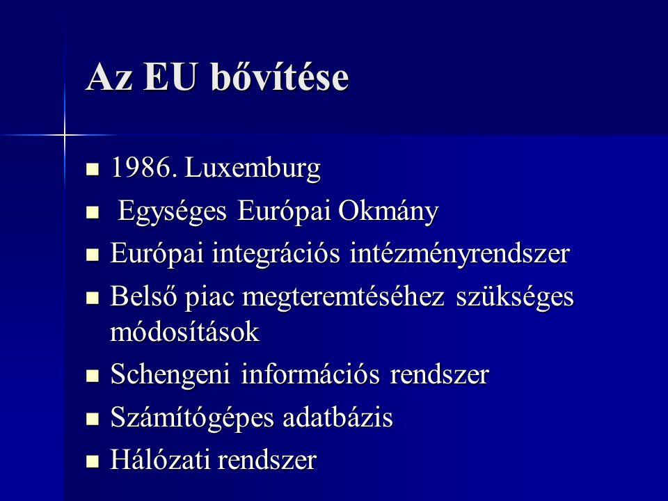 Az EU bővítése 1986. Luxemburg 1986. Luxemburg Egységes Európai Okmány Egységes Európai Okmány Európai integrációs intézményrendszer Európai integráci