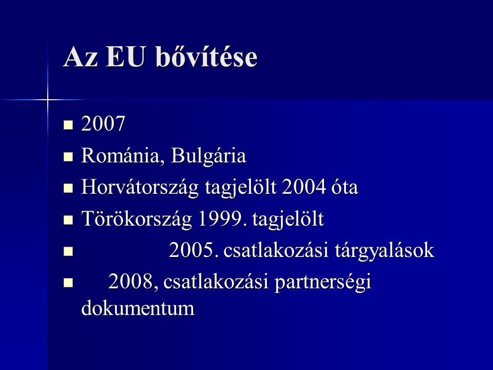 Az EU bővítése 2007 2007 Románia, Bulgária Románia, Bulgária Horvátország tagjelölt 2004 óta Horvátország tagjelölt 2004 óta Törökország 1999. tagjelö