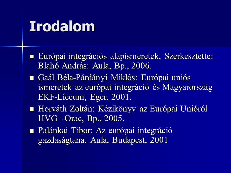Irodalom Európai integrációs alapismeretek, Szerkesztette: Blahó András: Aula, Bp., 2006. Európai integrációs alapismeretek, Szerkesztette: Blahó Andr