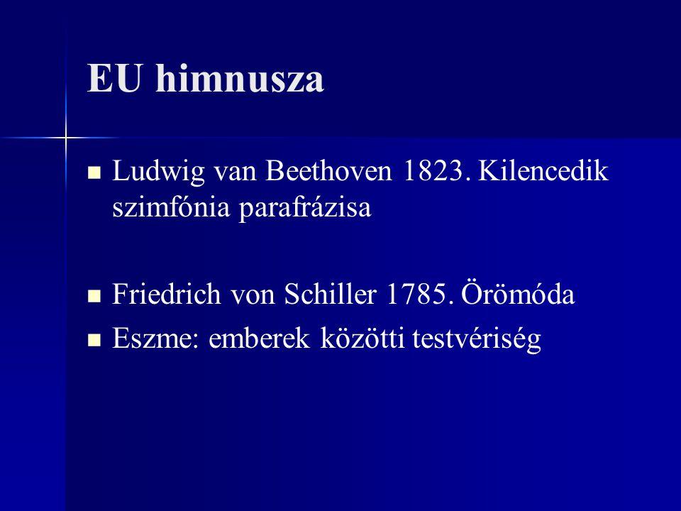 EU himnusza Ludwig van Beethoven 1823. Kilencedik szimfónia parafrázisa Friedrich von Schiller 1785. Örömóda Eszme: emberek közötti testvériség
