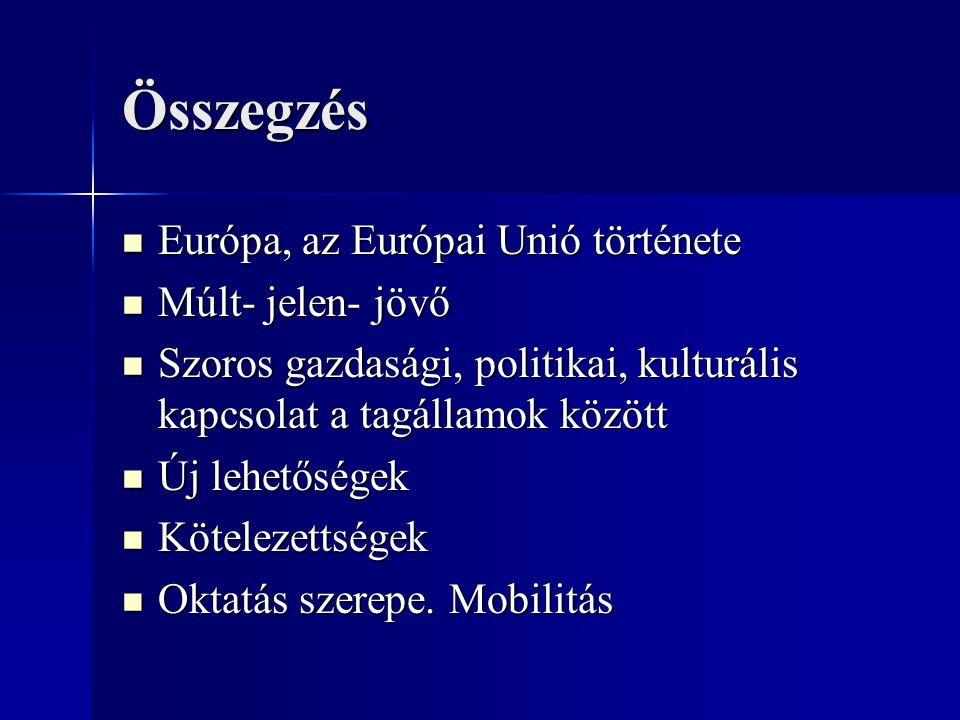 Összegzés Európa, az Európai Unió története Európa, az Európai Unió története Múlt- jelen- jövő Múlt- jelen- jövő Szoros gazdasági, politikai, kulturá