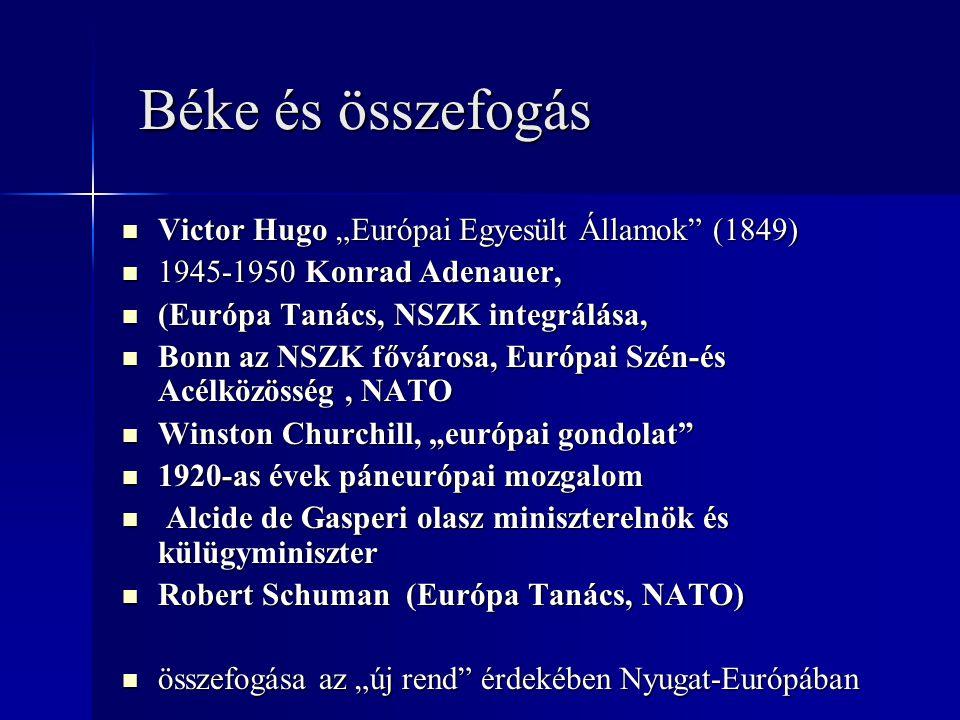 "Béke és összefogás Béke és összefogás Victor Hugo ""Európai Egyesült Államok"" (1849) Victor Hugo ""Európai Egyesült Államok"" (1849) 1945-1950 Konrad Ade"