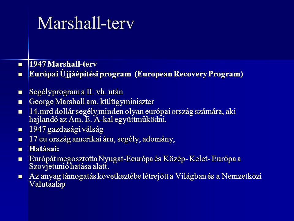 Marshall-terv 1947 Marshall-terv 1947 Marshall-terv Európai Újjáépítési program (European Recovery Program) Európai Újjáépítési program (European Reco