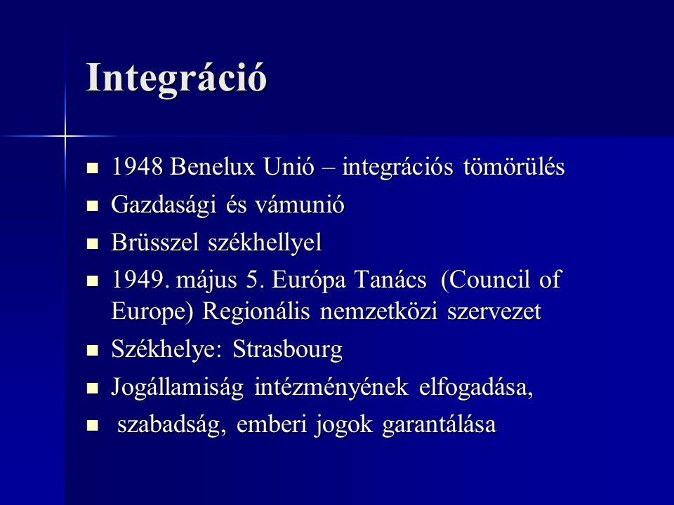 Integráció 1948 Benelux Unió – integrációs tömörülés 1948 Benelux Unió – integrációs tömörülés Gazdasági és vámunió Gazdasági és vámunió Brüsszel szék