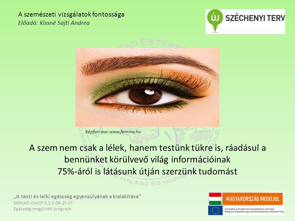 """A szem nem csak a lélek, hanem testünk tükre is, ráadásul a bennünket körülvevő világ információinak 75%-áról is látásunk útján szerzünk tudomást """"A t"""