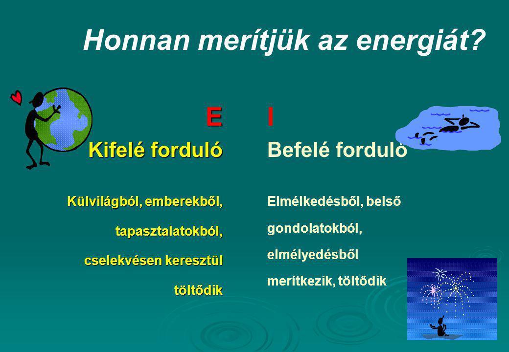 Honnan merítjük az energiát? E Kifelé forduló Külvilágból, emberekből, tapasztalatokból, cselekvésen keresztül töltődik I Befelé forduló Elmélkedésből