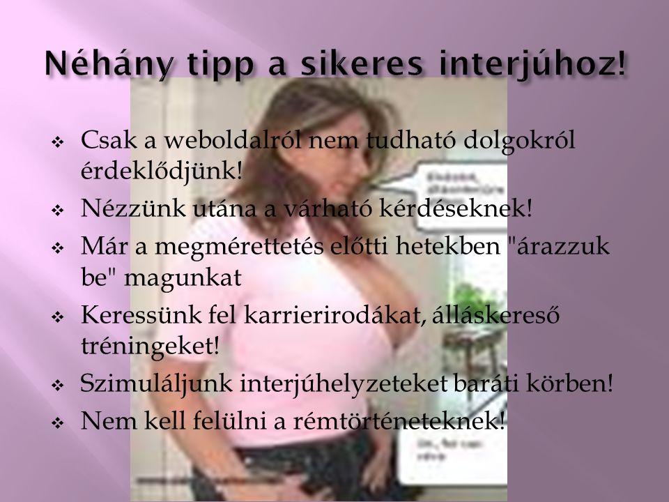 1) Néhány tipp a sikeres interjúhoz! 2) Gyakori kérdések állásinterjún 3) A rémes interjúztató 5 típusa 4) Hogyan készüljünk fel a stresszinterjúra? 5