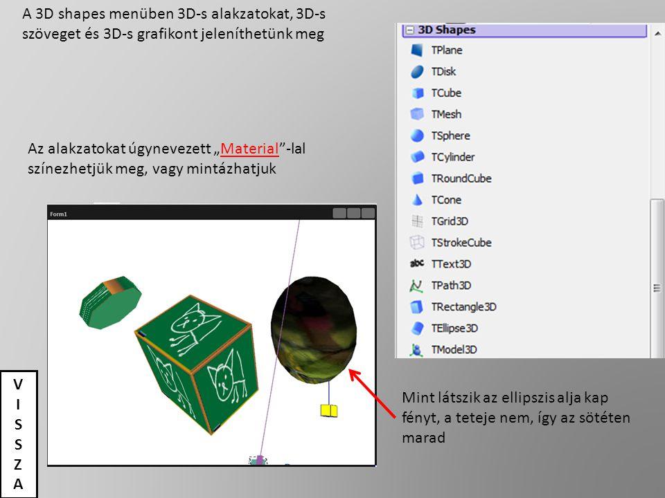 """A 3D shapes menüben 3D-s alakzatokat, 3D-s szöveget és 3D-s grafikont jeleníthetünk meg Az alakzatokat úgynevezett """"Material""""-lal színezhetjük meg, va"""